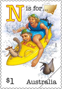 - N is for New South Wales and Numbat. This stamp issue is part one of a series featuring an old-fashioned Aussie alphabet of humorous scenes. It begins with the letters representing five of our states. Alphabet And Numbers, Stamp Collecting, My Stamp, Postage Stamps, Poster, South Wales, Australian Icons, Rubber Raincoats, Alphabet Stamps