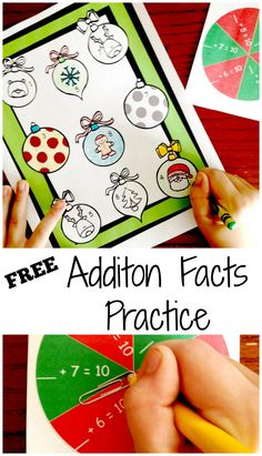 Six FREE Spin and Color Games For Addition Fact Practice Math Activities For Kids, Literacy Games, Christmas Activities, Fun Math, Math Resources, Kids Math, Counting Activities, Homeschooling Resources, Christmas Math