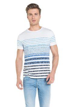 T-shirt com riscas em degradé   114456 Branco   Salsa