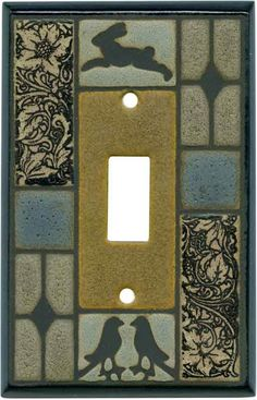 Mission Tile Ceramic - 1 Toggle Light Switch Plates - 1 Toggle Light Switch Plates & Outlet-Rocker plates in stock. Craftsman Tile, Craftsman Decor, Craftsman Interior, Craftsman Kitchen, Craftsman Homes, Arts And Crafts House, Home Crafts, Guest Bathroom Remodel, Mission Furniture