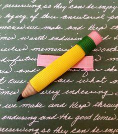 Back to School - Pencil ribbon sculpture ribbon hair clip