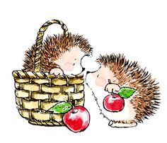 Cute illustrations - (✿´ ꒳ ` )ノ By Penny Black: Spring Basket Apples