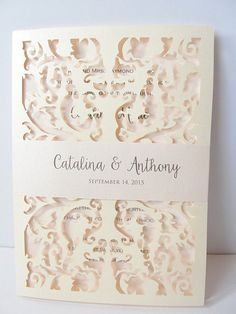 Laser Cut Wedding Invitation, Lace Laser Cut Wedding Invite, Lace Wedding Invite, Rustic Wedding Invitation, LACE - 2 CREAM