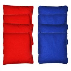 Gopong Cornhole Bean Bag Set (4 Red, 4 Blue) by Go Pong. $18.99. All weather bags-even works in the rain. Regulation Size: 6 x 6-Inch at 15 ounces each. Fill material is double sealed with premium outer fabric. Includes 8 CornHole Bags-4 Red + 4 Blue (no logos). Official ACA Regulation Size (6 x 6-Inch at 15 ounces each) all weather CornHole Bags. Includes 4 Red and 4 Blue for a full 8 piece set. Perfect for replacement bags or if you built your own boards and need some b...