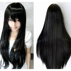 """Heat Resistant 31""""/80cm Bangs Long Straight Cosplay Anime Wigs Full... ❤ liked on Polyvore featuring beauty products, haircare and hair styling tools"""