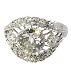 1stdibs   A Gorgeous Edwardian Platinum and Diamond Ring.