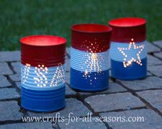Make your own tin can luminaries for the 4th of July