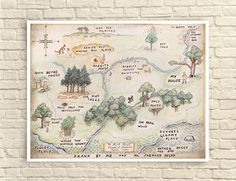 Classic Winnie The Pooh, Classic Winnie the Pooh Wall Art, 100 Acre Wood Map, Nursery Art, Nursery Decor, Children's Wall Art. by CreativeArtandInk on Etsy https://www.etsy.com/listing/246828872/classic-winnie-the-pooh-classic-winnie