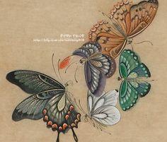 문선영作- 민화(화접도) 2012년 민수회展 : 네이버 블로그 Butterfly Illustration, Butterfly Drawing, Butterfly Painting, Nature Illustration, Korean Painting, Chinese Painting, Tibetan Art, Vintage Botanical Prints, Ribbon Embroidery