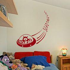 Alien UFO Boys Wall Sticker / Vinyl Art Decor / Large Boys Wall Transfer bn15