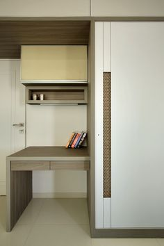Beautiful wardrobe Design with study creating a subtle and minimal decor