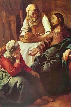 Christ with Mary and Martha, serving bread