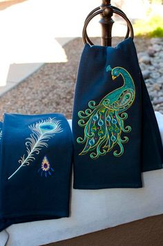 Peacock Kitchen Towel. $40.00, via Etsy.