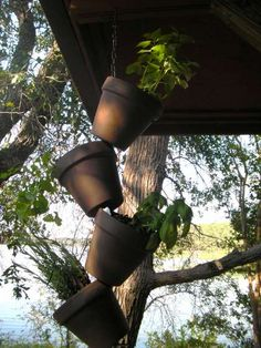hanging garden, using flower pots