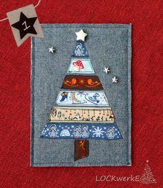 LOCKwerkE: STOFFKARTE Weihnachtsbaum Advent Calendar, 1, Holiday Decor, Cards, Christmas Tree, Packaging, Deco, Advent Calenders, Maps