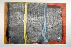 ARiverRunsThroughIT  Abstract Contemporary Fine Art Monoprint  by kbmatter on Etsy