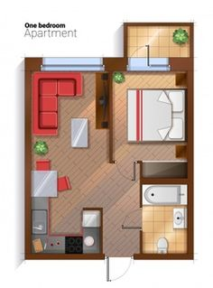 Buy Vector Modern One Bedroom Apartment Top View by skypicsstudio on GraphicRiver. Vector top view illustration of one bedroom apartment with furniture. Modern detailed architectural plan of bedroom, . Studio Apartment Floor Plans, Studio Apartment Layout, Studio Layout, Small Apartment Design, Small House Design, Small Apartments, Small Apartment Plans, Studio Apt, Garage Apartments
