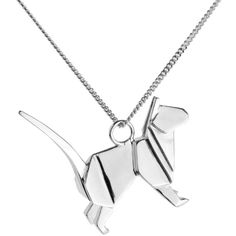 Origami Jewellery - Cat Necklace Silver ($145) ❤ liked on Polyvore featuring jewelry, necklaces, oxidized silver jewelry, cat jewelry, silver cat jewelry, silver necklace and jewel necklace