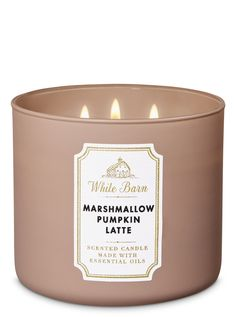 Cinnamon Spiced Vanilla Candle - White Barn - Marshmallow Pumpkin Latte Candle by Bath & Body Works -