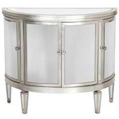 Demilune Mirrored Chest from Z Gallerie - Our stunning Demilune mirrored four door chest with bent mirrored beveled facings and antique silver accents will add a glamorous touch to any room.