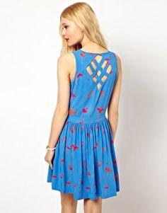 Image 2 ofSugarhill Boutique Flamingo Print Dress with Lattice Back