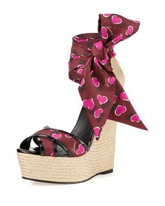 Crisscross Sash-Wrap Jute Wedge by Gucci at Neiman Marcus.  Spring 2014