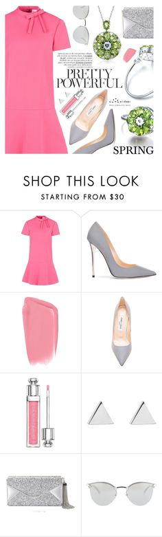 """""""Pretty Powerful"""" by totwoo ❤ liked on Polyvore featuring RED Valentino, Jimmy Choo, Christian Dior, Jennifer Meyer Jewelry, BCBGMAXAZRIA and Fendi"""