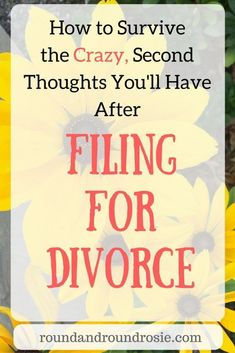 After filing for divorce, it's not unusual to have some second thoughts. Here are a few tips to help you get survive. A few simple and sane tips I've learned to survive those crazy but normal second thoughts you'll have after filing for divorce. Divorce Online, Dating After Divorce, Divorce Surviving, How To Divorce, Coping With Divorce, Divorce With Children, Separation And Divorce, Legal Separation, Divorce Mediation