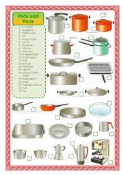 English worksheet: Pots and pans