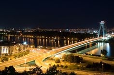 Bratislava city at night Austro Hungarian, Night City, Bratislava, Capital City, Marina Bay Sands, Cities, Past, Europe, Future