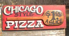 hand painted Pizza Pie sign by ZekesAntiqueSigns Pizza Sign, Chicago Style, Hand Painted Signs, Boating, Beach House, Folk, Pie, Lettering, Decorating