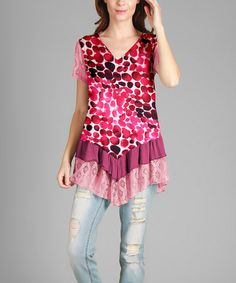Look what I found on #zulily! Pink & White Abstract Lace-Trim Tunic - Plus #zulilyfinds