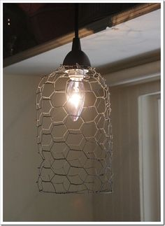 """ The Shabby Creek Cottage "" - Farmhouse & Cottage DIY & Design Blog: Day 23: DIY chicken wire pendant light"