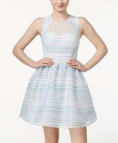 City Studios Juniors' Sleeveless Striped Fit & Flare Dress