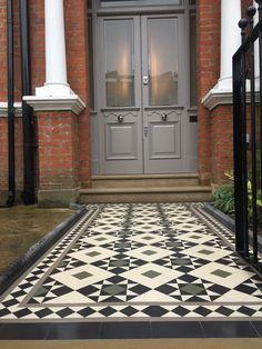 Porch Tile, Porch Flooring, Exterior Tiles, Exterior Paint Colors, Garden Path, Garden Ideas, Front Path, Tiles Uk, Outdoor Tiles