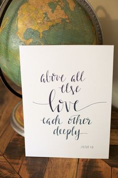 """Hand-Lettered Quote Print """"Above all else, love each other deeply"""""""