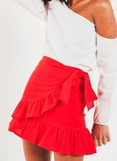 Be picnic ready in the cutest wrap skirt to date! - Fitted mini skirt - Red skirt - Ruffle hem - Wrap around front - Partially lined - Invisible zipper - Cotton, Polyester Red Skirt Outfits, Red Skirts, White Skirts, Mini Skirts, Clue Costume, Australian Fashion, Fashion Brand, Clothes For Women, Women's Clothes