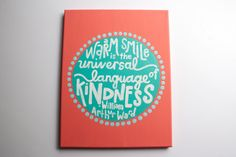 Coral and teal smile/kindness hand-painted quote on canvas with circle and polka-dot shapes