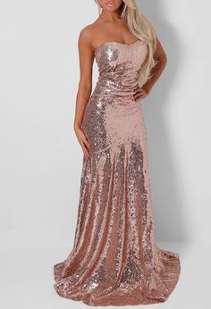 Candace Rose Gold Strapless Sequin Fishtail Maxi Dress                                                                                                                                                      More