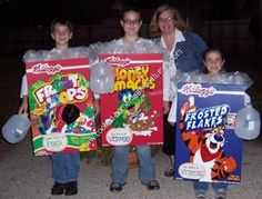 Homemade Cereal Box Halloween Costumes: My kids LOVE cereal, so why not be that for Halloween.  Here they are as each of there favorite cereals.  I hand make there costumes every year and they