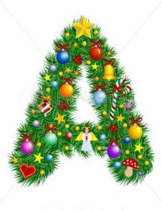 Illustration of Letter A - Christmas tree decoration - Alphabet vector art, clipart and stock vectors. Christmas Alphabet, Christmas Fonts, Christmas Crafts For Gifts, Christmas Printables, Christmas Pictures, Christmas Art, Christmas Tree Decorations, Christmas Ornaments, Holiday Fonts