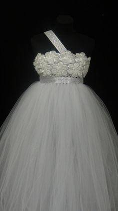 Flower Girl Dress.... Rosette top Tutu Dress.... Tulle Dress