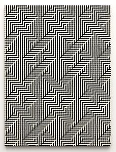 "Tauba Auerbach's ""Shadow Weave (Interlock image)"" (2011). The canvas is physically woven to create the 3D effect."