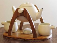 """Tea for Two"" beautiful wooden tea set by Mark Huang. #teaset"