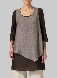 Linen Double-Layer Wrap Top Two Tone Brown/Dark Brown