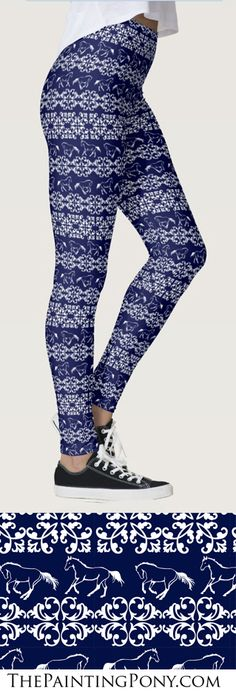 Horse Leggings - equestrian fashion and style for the horse lover! These are cute legging pants that are made in the USA and are great for anyone who loves horses, ponies, and horseback riding from hunter jumper, dressage, to cowgirl style rodeo barrel racing.