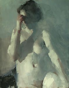 Artist: Mark Tennant {contemporary figurative #impressionist nude female human body décolletage woman torso texture smudged oil painting} marktennantart.com