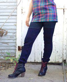 Navy Blue Winter Leggings. Sweater Leggings. Wool leggings. Faux Thigh High Leggings. Winter Leggings. by blissjoybull, $68.00
