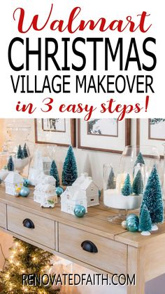 """You won't believe the before photo!  This easy step-by-step tutorial and video shows you how to give your Christmas village or nativity scene display a makeover with paint and a little clear glitter. This vintage village makeover can also work on a nativity set, no matter the colors.  Included are display ideas to give it a """"wood and white"""" look. Thrifted Christmas Village Makeover Makeover.  Dollar Store Elegant Christmas Decor, Simple Christmas, Christmas Diy, Vintage Christmas, Winter Wonderland Decorations, Xmas Decorations, Christmas Village Display, Christmas Villages, White Nativity Set"""