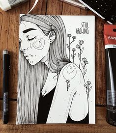 """643 Likes, 11 Comments - artist. melbourne. (@dinasaurus.art) on Instagram: """"dreamer ☁️⭐️ made with copic sketch marker and copic multiliner. its the finished version of a…"""""""